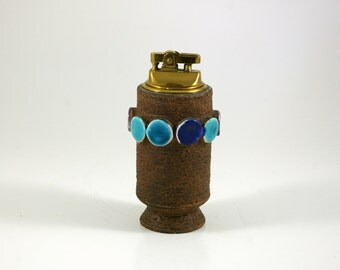 Modernist Bitossi Table Lighter in Brown and Blue -- Made in Italy