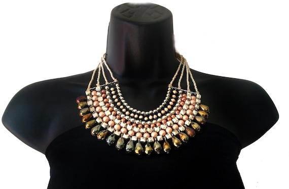 BIB Necklace Statement Jewelry Pearl Collar Necklace, handbeaded large necklace,beach jewelry wedding jewelry,bridal accessories by TANEESI