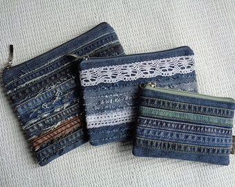 Denim makeup bags pouches Rock Grunge Distressed Upcycled