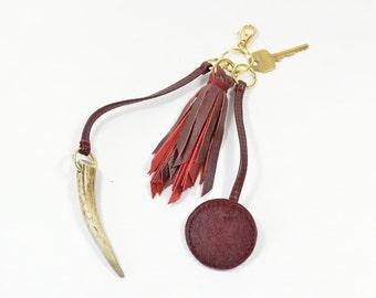Handmade Oxblood Leather Tassel & Antler Horn Keychain Bag Charm.