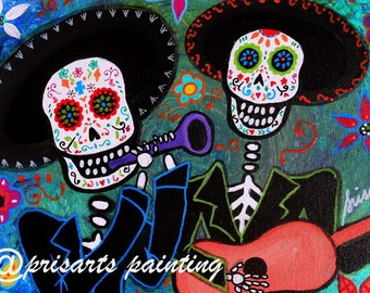 Mexican Guitar Trumpet day of the Dead Mariachi Amigos Painting PRINT by Pristine Turkus