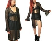 Witchy Woman Black Mesh Bell Sleeve Duster Jacket // ML