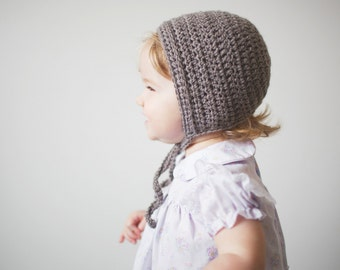 Crochet Baby Girl Bonnet in Grey Merino - Crochet Baby Hat, Baby Girl Hat, Baby Bonnet, 0 to 12 Months (Skyla)