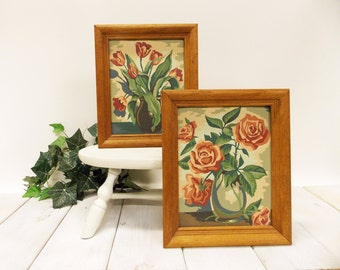 "Vintage Paint by Number Flowers--- Framed Pair of Paint by Number Floral Bouquets--- 1954 ""Blossom Time"""