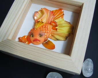 OOAK clay fantasy fish - Goldie