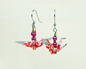 Origami Peace Crane Earrings Hand-Made in Red Cherrie Blossom Design