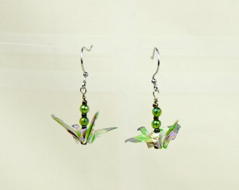 Peace Crane Earrings - Eco-Friendly Origami Lavender Cherrie Blossom, Hand-made Multicolored Pastel