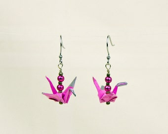 Pink Origami Peace Crane Earrings Hand-Made, eco-friendly, paper gift