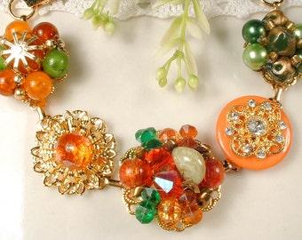 Fall Autumn Wedding Gold Vintage Earring Bracelet, Orange, Green & Brown Bridesmaid Gift Charm Bracelet, Upcycled Earrings 1950s 1960s Retro
