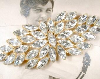 Vintage Sash Buckle 1920s Marquise Rhinestone Gold Bridal Sash Belt, Large Pave Great Gatsby Wedding Art Deco Flapper Old Hollywood Glam