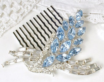 Powder Blue Bridal Hair Comb, Vintage Dusty Blue Rhinestone Floral Spray Hair Accessory, Something Blue Hairpiece, 1950s Wedding Accessory