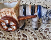 Antique Donkey and Cart Made in Occupied Japen Ceramic Figurine Planter Toothpick holder