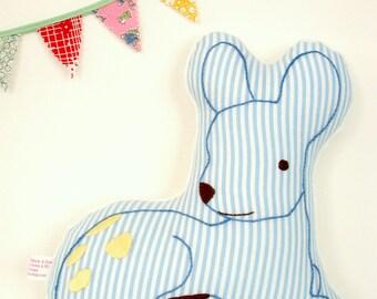 Baby Deer Nursery Pillow / Hand-Embroidered / Woodland Nursery Decor / Seersucker / Blue and White / Deer Pillow / New Baby Gift
