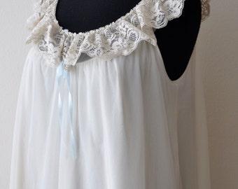 Vintage 50s 60s Shadow Line Long Cream Gown Lingerie