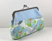 SALE Clutch in Baby Blue Floral and Solid Blue Cotton FREE SHIPPING