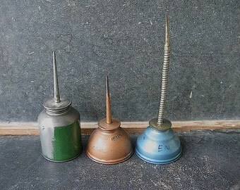 Vintage Oil Cans, Painted