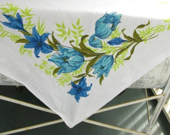 Vintage Floral Tablecloth, linen, flowers, print, tulips, blue green, turquoise
