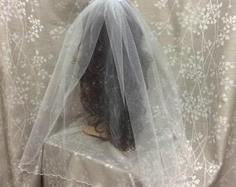 First Communion Veil, Flower Girl Veil, White Girl Veil, White Rolled Hem Viel ONLY