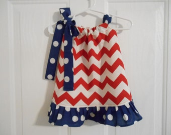 Pillowcase dress red chevron with color choice for ruffle and tie infant through 8 years 4th of July, patriotic