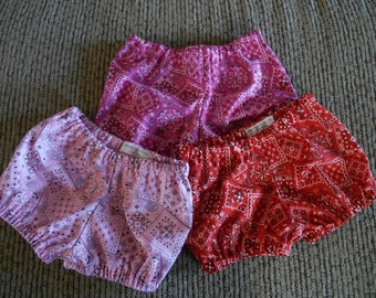 Bandana print bloomers red pink orange brown etc diaper cover many colors choose the color you want  fits 0-3 months to 4 years
