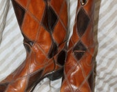 Patchwork Two-tone Leather Cowboy Boots Size 7  by ACME SALE