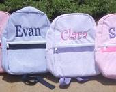 Personalized Toddler Backpack in 4 Seersucker Colors, Flower Girl Gift, Ring Bearer Gift