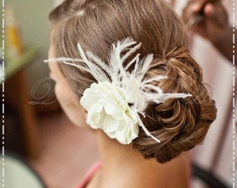 BP10-I - Bridal Pale Ivory  Hair Flower with Rhinestones Center and Feathers  Accents.Bridal Hairpiece