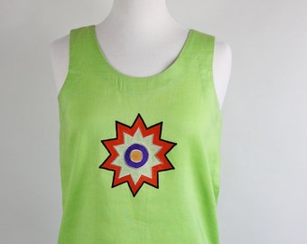 SALE - Vintage 90s Bright Neon Green Sun Design Summer Linen Tank Top
