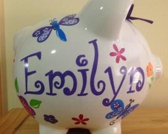 Personalized Large piggy Bank Butterflies, Dragonflies, Flowers Newborn, Baby Shower, Ring Bearer, Flower Girl, Christening Gift