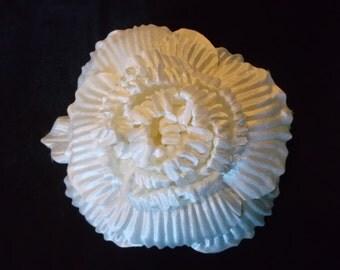 Custom Made Satin Cream Millinery Flower 8 1/2 Diameter