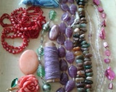 A mix of new and old beads gemstones, agates, fluorite,  detash mixed media salvage