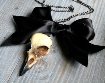 Bird Skull necklace, brooch pin, clip or decoration, Resin replica, personalised gothic victorian magpie skull Alternative gift
