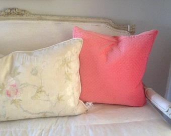 1 pinky corral matelasse velvet quilted look pillow with feather insert 20x20 pillow