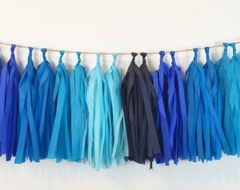 Blue Mix Garland Tissue Paper Tassels Garland Kit Set of 16 to 32 Or Choose your Colors