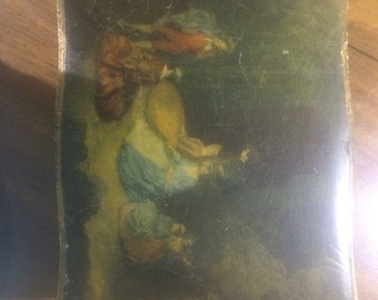 Vintage Italian Florentine Dresser Box with Old Masters Style Scene