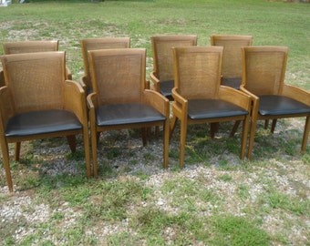 Vintage Mid Century Modern MCM Caned Back Dining Chairs by Hibriten Chair Co