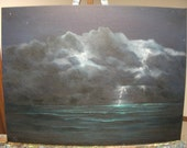 Lightening Storm, Ocean, Sea, Water, Night, Clouds, Waves Original Landscape Oil Painting