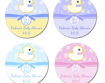 Personalized Darling Duckie Bubbles and Bow Baby Shower Designer Labels - 100 GLOSSY Round Stickers 2 Inch or 2.5 Inch or 3 Inch
