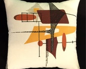 Mid-Century Modern Space Age Barkcloth Pillow Cover - Russet Orange, Black, Brown, Gold - Many Sizes Available