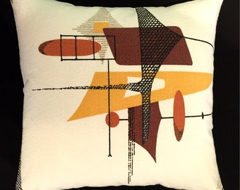 """Mid-Century Modern Space Age Barkcloth Pillow Cover - READY TO SHIP - Russet Orange, Black, Brown, Gold - 17"""" x 17"""""""