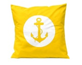 Throw Pillow - Anchor in YELLOW - Decorative Cushion - Handmade Pillow Cover in Swedish Design - Scandinavian Style Homewares