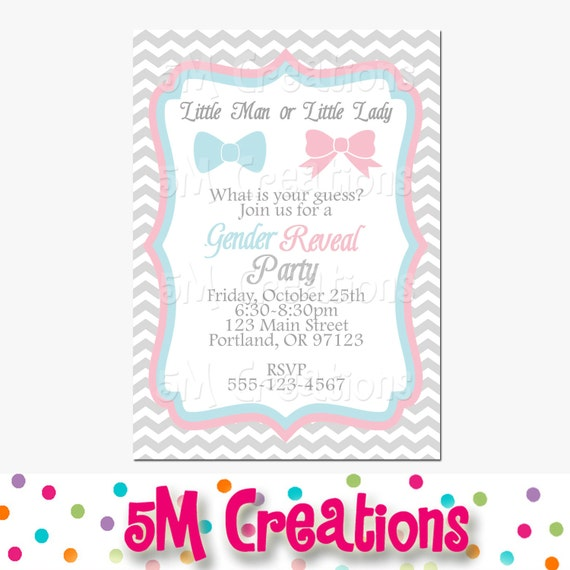 gender reveal party invitation - little man little lady printable, Baby shower invitations