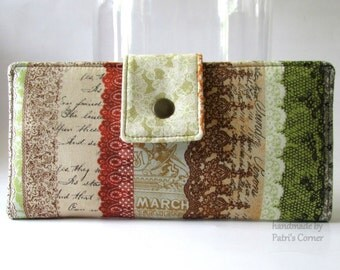 Handmade womens wallet - floral lace, letters - vintage look - ID clear pocket - wallets for her - Romantic clutch - ready to ship