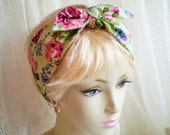 Green Pink Rose Head Scarf, Light Green Pink Rose Head Wrap, Rose Head Scarf, Floral Head Scarf