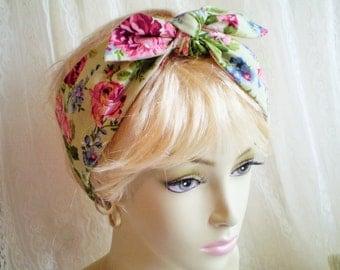 Green Pink Rose Head Scarf, Light Green Pink Rose Head Wrap, Rose Head Scarf, Floral Head Scarf