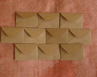"50 Mini Brown Envelopes - Brown Kraft Envelopes - Recycled Mini Envelopes - Tiny Envelopes - 1.5"" x 2"""