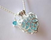 Sea Glass Jewelry  Locket Necklace Aqua Beach Glass Necklace