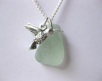 Bird jewelry Bird pendant Bird necklace sea glass necklace seaglass jewelry