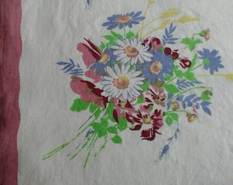 Mid Century Floral Linen Tablecloth