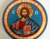 Christ Pantocrator Icon, Small handpainted orthodox icon on canvas, Round Painting 8 inches diameter